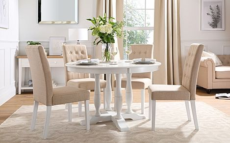 Highgrove Round White Wood Dining Table with 4 Regent Oatmeal Fabric Chairs