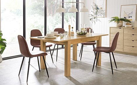 Hamilton Oak 120-170cm Extending Dining Table with 4 Brooklyn Tan Leather Chairs