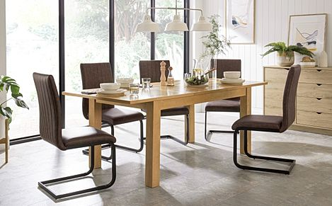 Hamilton 150-200cm Oak Extending Dining Table with 4 Perth Vintage Brown Leather Chairs