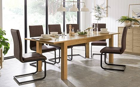 Hamilton 180-230cm Oak Extending Dining Table with 6 Perth Vintage Brown Leather Chairs