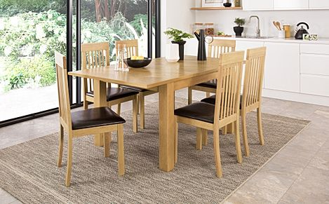 Madison 120-170cm Oak Extending Dining Table with 6 Oxford Chairs (Brown Leather Seat Pad)