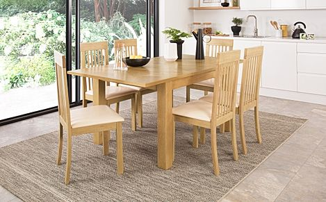 Madison 120-170cm Oak Extending Dining Table with 6 Oxford Chairs (Ivory Leather Seat Pad)