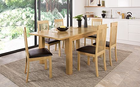 Madison 150-200cm Oak Extending Dining Table with 6 Oxford Chairs (Brown Leather Seat Pad)