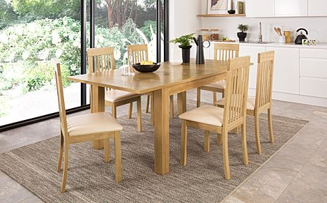 Madison 150-200cm Oak Extending Dining Table with 6 Oxford Chairs (Ivory Leather Seat Pad)