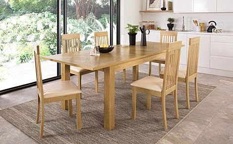 Madison 180-230cm Oak Extending Dining Table with 4 Oxford Chairs (Ivory Leather Seat Pad)