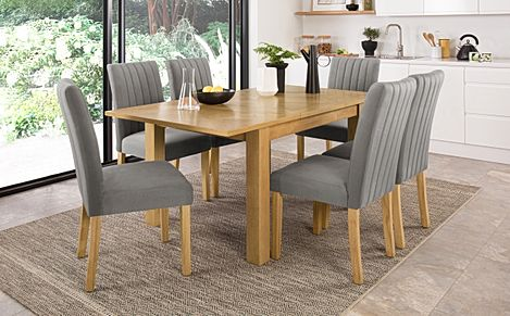 Madison 120-170cm Oak Extending Dining Table with 6 Salisbury Grey Velvet Chairs