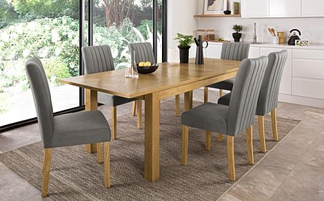 Madison 180-230cm Oak Extending Dining Table with 4 Salisbury Grey Velvet Chairs