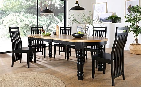 Manor Oval Painted Black and Oak Extending Dining Table with 6 Java Black Chairs