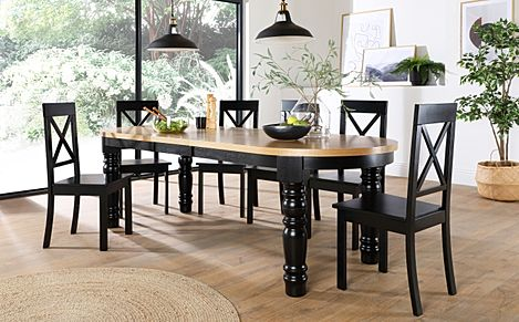 Manor Oval Painted Black and Oak Extending Dining Table with 8 Kendal Black Chairs