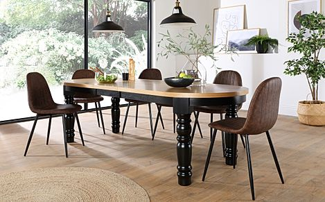Manor Oval Painted Black and Oak Extending Dining Table with 6 Brooklyn Brown Leather Chairs