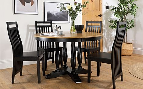 Highgrove Round Painted Black and Oak Dining Table with 4 Java Black Chairs