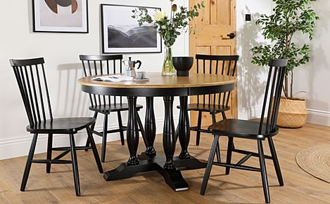 Highgrove Round Painted Painted Black and Oak Dining Table with 4 Pendle Black Chairs