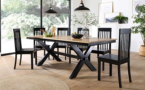 Grange Painted Black and Oak Extending Dining Table with 6 Oxford Black Chairs