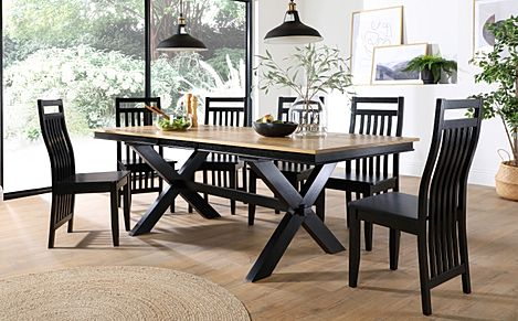 Grange Painted Black and Oak Extending Dining Table with 6 Java Black Chairs