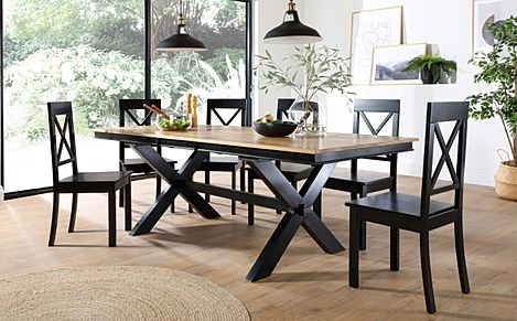 Grange Painted Black and Oak Extending Dining Table with 6 Kendal Black Chairs