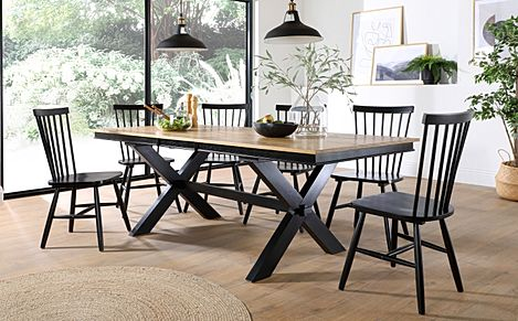 Grange Painted Black and Oak Extending Dining Table with 4 Pendle Black Chairs