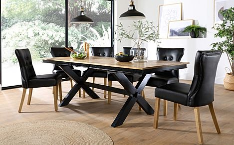 Grange Painted Black and Oak Extending Dining Table with 8 Bewley Black Leather Chairs (Oak Legs)