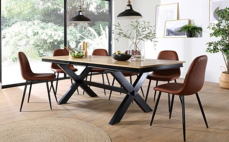 Grange Painted Black and Oak Extending Dining Table with 8 Brooklyn Tan Leather Chairs