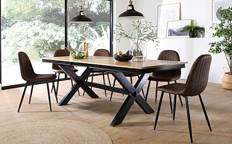 Grange Painted Black and Oak Extending Dining Table with 6 Brooklyn Brown Leather Chairs (Black Legs