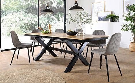 Grange Painted Black and Oak Extending Dining Table with 6 Brooklyn Grey Velvet Chairs