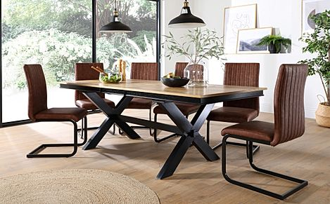 Grange Painted Black and Oak Extending Dining Table with 6 Perth Tan Leather Chairs (Black Legs)