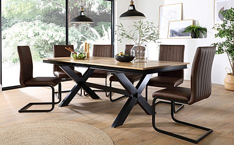 Grange Painted Black and Oak Extending Dining Table with 8 Perth Vintage Brown Leather Chairs (Black