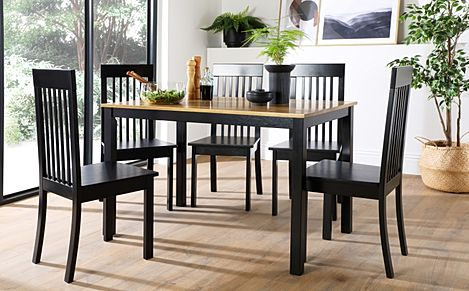 Milton Painted Black and Oak Dining Table with 4 Oxford Black Chairs