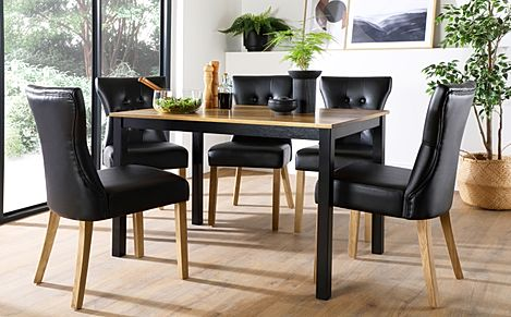 Milton Painted Black and Oak Dining Table with 6 Bewley Black Leather Chairs (Oak Legs)