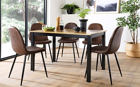 Milton Painted Black and Oak Dining Table with 6 Brooklyn Brown Leather Chairs (Black Legs)