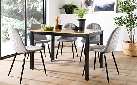 Milton Painted Black and Oak Dining Table with 6 Brooklyn Grey Velvet Chairs