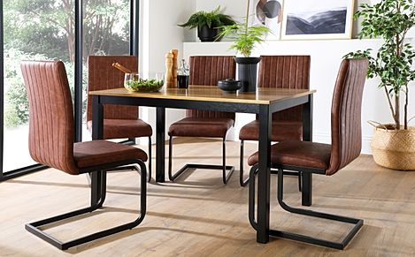 Milton Painted Black and Oak Dining Table with 4 Perth Tan Leather Chairs