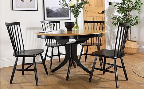 Hudson Round Painted Black and Oak Extending Dining Table with 4 Pendle Black Chairs
