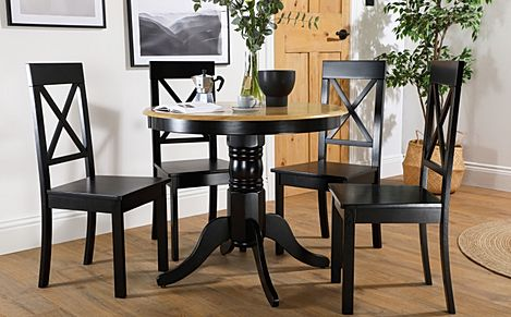 Kingston Round Painted Black and Oak Dining Table with 4 Kendal Black Chairs