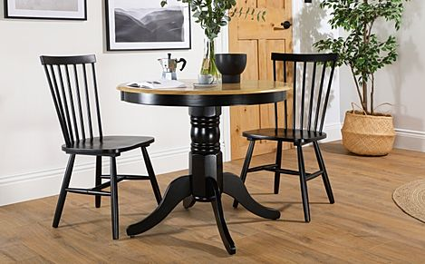 Kingston Round Painted Black and Oak Dining Table with 2 Pendle Black Chairs