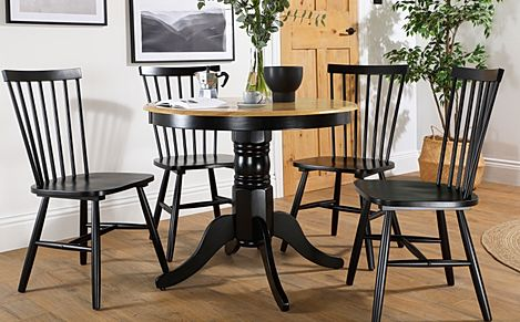 Kingston Round Painted Black and Oak Dining Table with 4 Pendle Black Chairs
