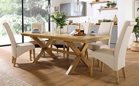 Grange Oak Extending Dining Table with 6 Richmond Cream Leather Chairs