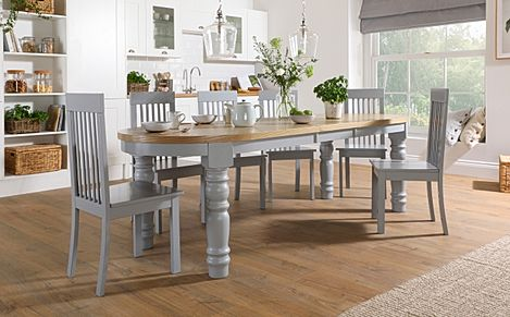 Manor Oval Painted Grey and Oak Extending Dining Table With 6 Oxford Grey Chairs