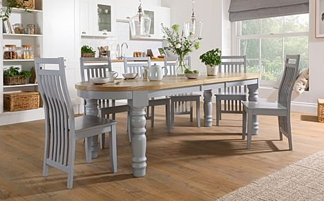 Manor Oval Painted Grey and Oak Extending Dining Table With 6 Java Grey Chairs