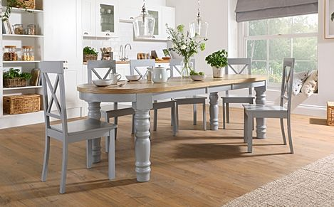 Manor Oval Painted Grey and Oak Extending Dining Table With 6 Kendal Grey Chairs