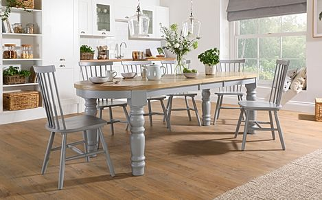 Manor Oval Painted Grey and Oak Extending Dining Table With 6 Pendle Grey Chairs