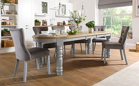 Manor Oval Painted Grey and Oak Extending Dining Table with 6 Bewley Grey Velvet Chairs