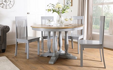 Highgrove Round Painted Grey and Oak Wood Dining Table with 4 Oxford Grey Chairs