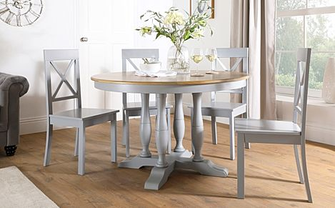 Highgrove Round Painted Grey and Oak Wood Dining Table with 4 Kendal Grey Chairs