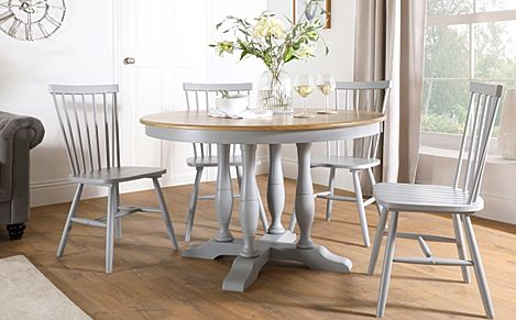Highgrove Round Painted Grey and Oak Wood Dining Table with 4 Pendle Grey Chairs