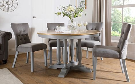 Highgrove Round Painted Grey and Oak Dining Table with 4 Bewley Grey Velvet Chairs