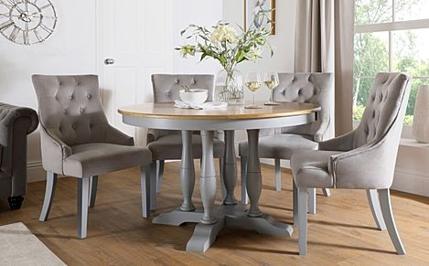 Highgrove Round Painted Grey and Oak Dining Table With 4 Duke Grey Velvet Chairs