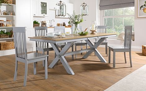 Grange Painted Grey and Oak Extending Dining Table with 8 Oxford Grey Chairs