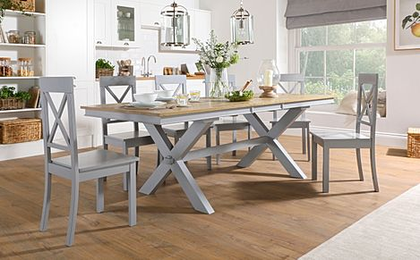 Grange Painted Grey and Oak Extending Dining Table with 8 Kendal Grey Chairs