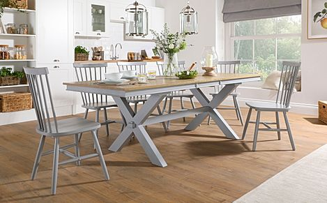 Grange Painted Grey and Oak Extending Dining Table With 6 Pendle Grey Chairs