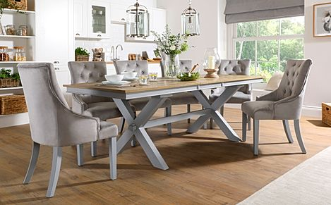 Grange Painted Grey and Oak Extending Dining Table With 8 Duke Light Grey Fabric Chairs